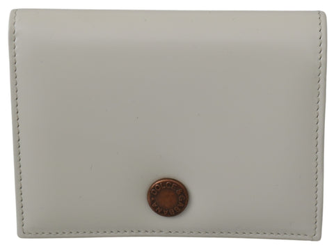 White Leather Bifold Card Holder Womens Wallet