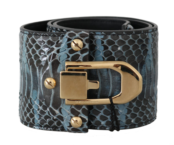 Blue Leather Gold Buckle Wide Waist Belt