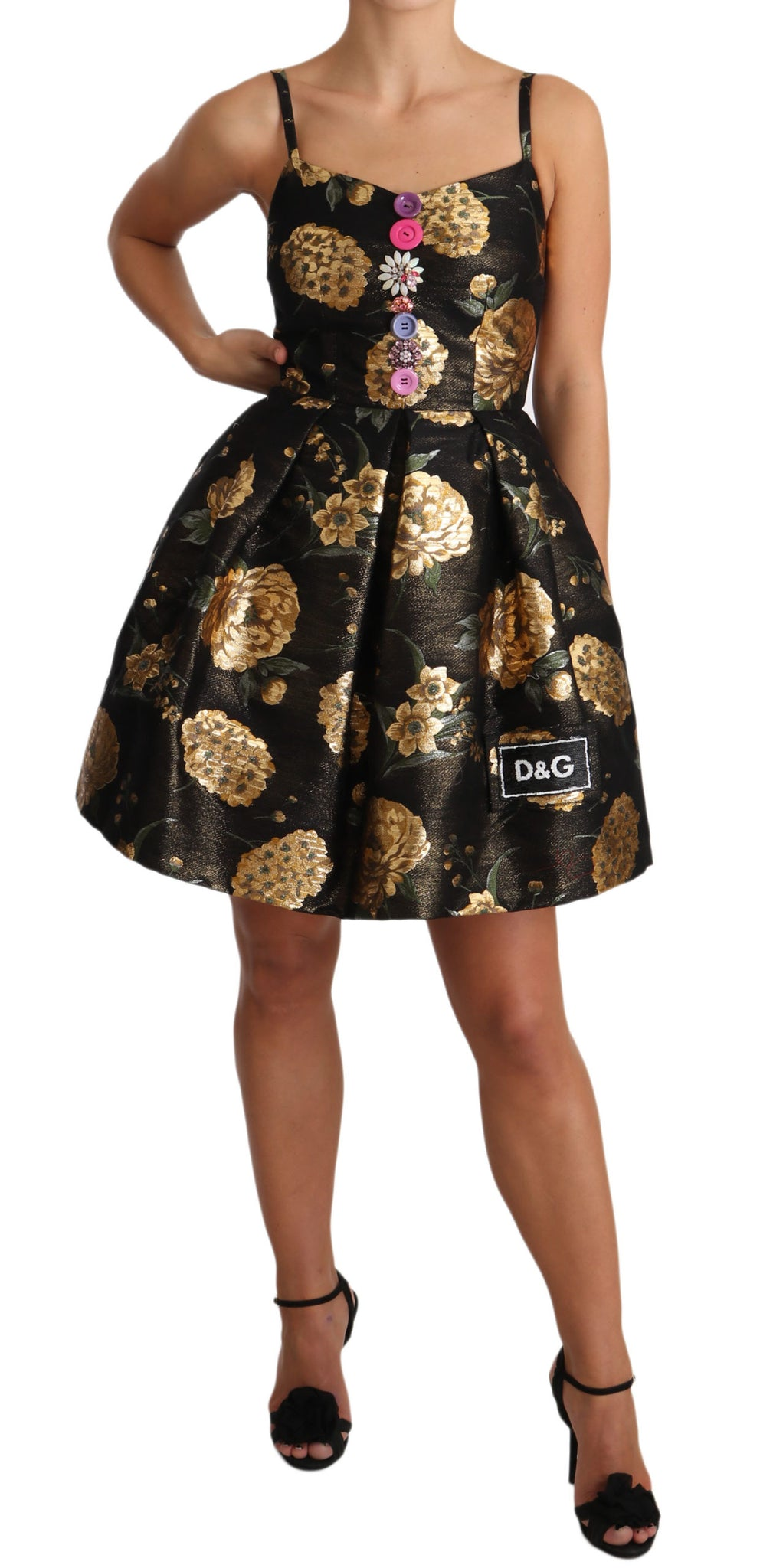 Gold Metallic Jacquard Button Dress