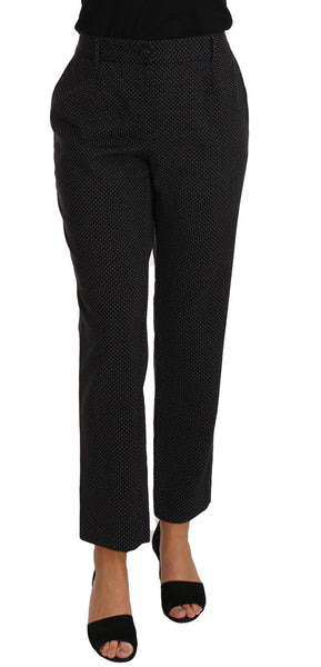 Black Lace Up Riding Cropped Trouser Pants
