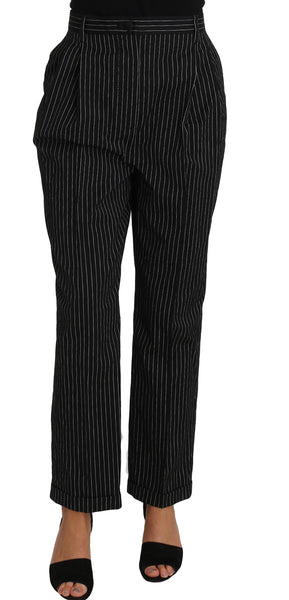 Black Pin Striped Dress Pants Cropped Straight Pant