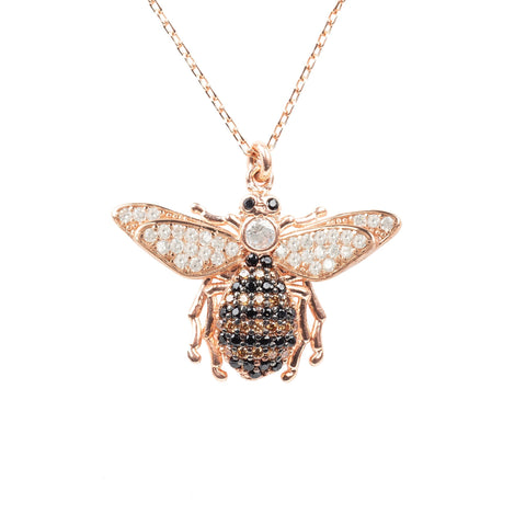 Latelita - Honey Bee Pendant Necklace Rosegold