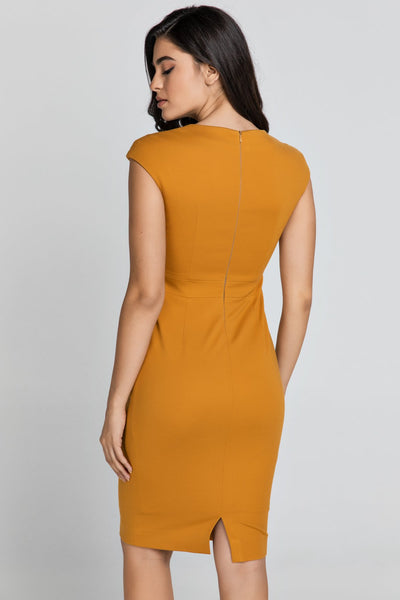 Conquista - Fitted Mustard Dress With Cap Sleeves
