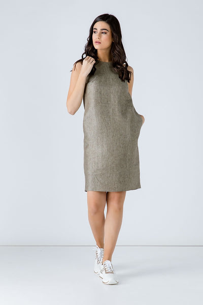 Conquista - Sleeveless Sack Dress With Pockets