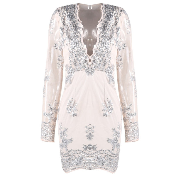 Evelyn Belluci - Natural Plunge Sequin Dress