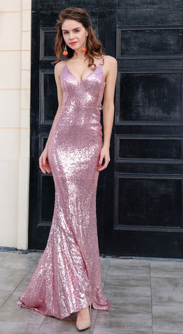 Evelyn Belluci - Pink Sequin Evening Gown