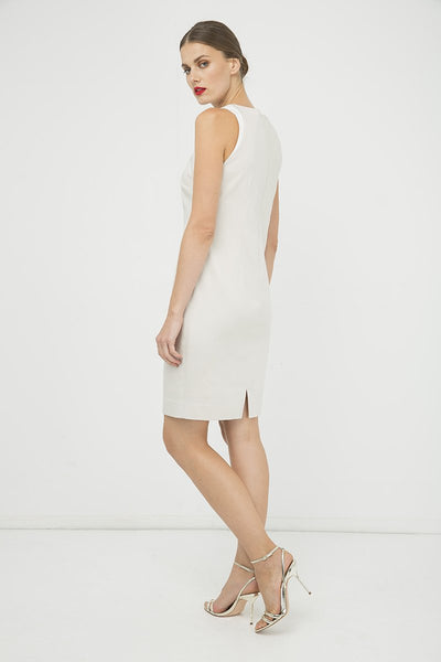 Conquista - Sand Colour Sleeveless Dress With Contrast Detail
