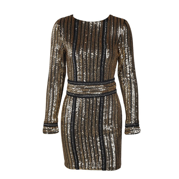 Evelyn Belluci - Gold Chain Sequin Dress