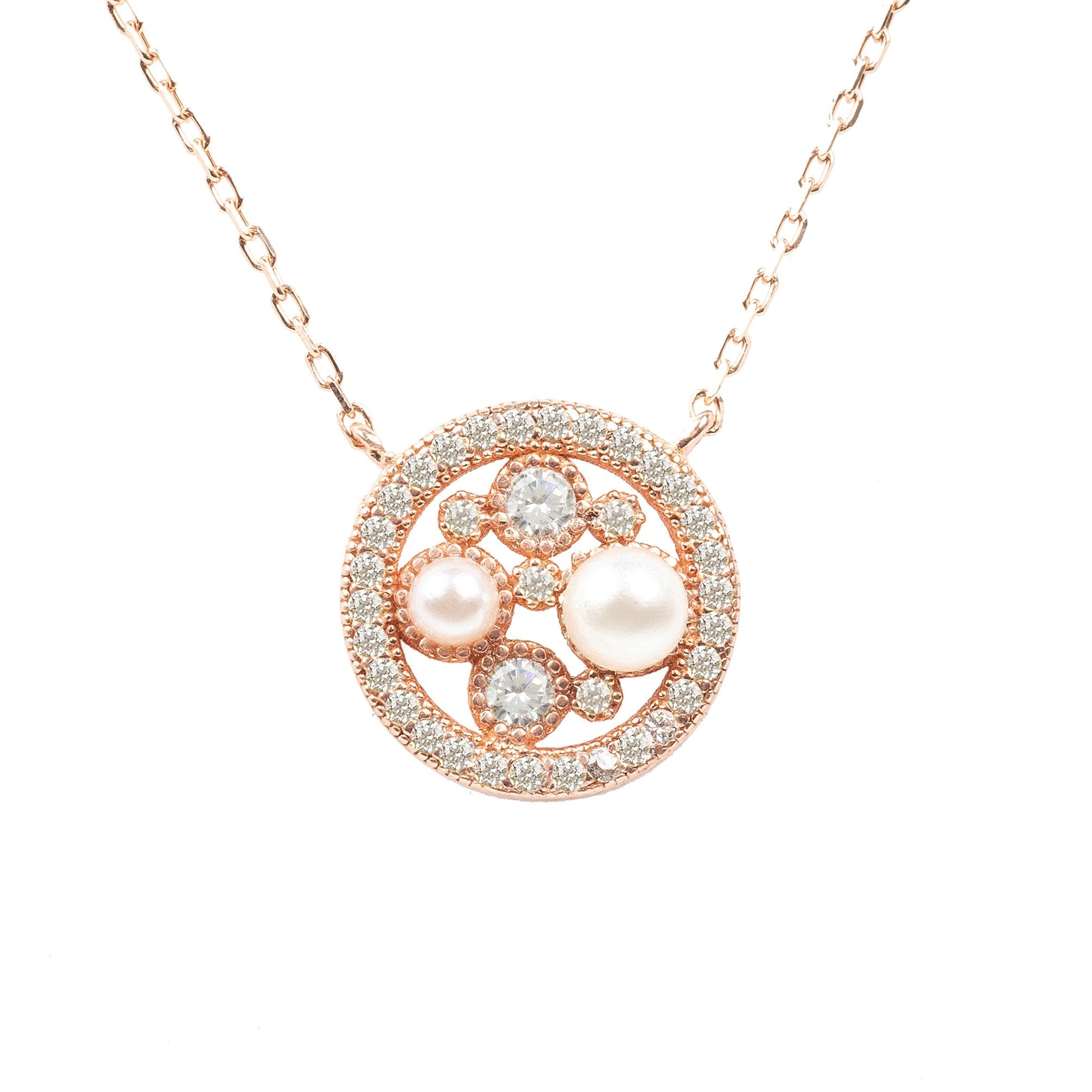 Latelita - Lulu White Pearl Rosegold Pendant Necklace