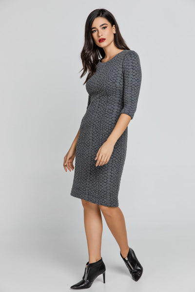 Conquista - Dark Grey Jacquard Dress by Conquista