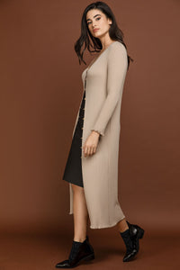 Conquista - Ruffle Detail Long Cardigan by Si Fashion