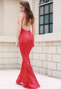 Evelyn Belluci - Red Sequin Evening Gown