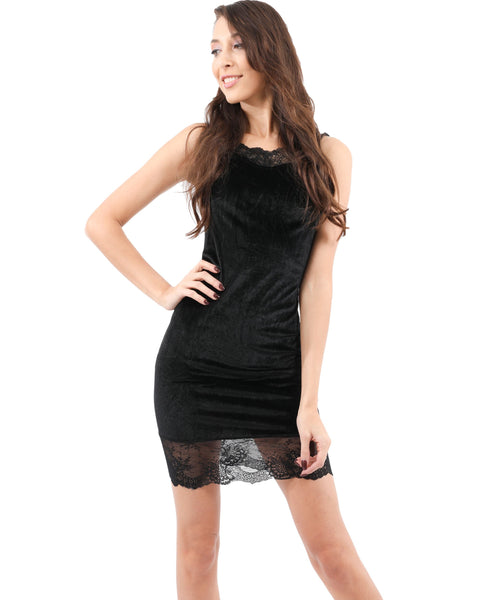 RSP Fashion - Royce Velvet Mini Dress With Lace Detail