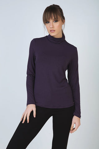 Conquista - Purple Long Sleeve Polo Neck Jumper