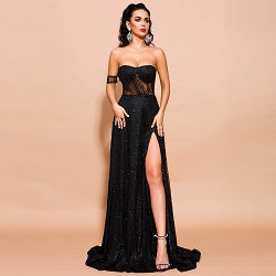 Evelyn Belluci - Black High Slit Gown