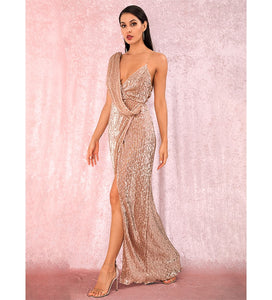 Evelyn Belluci - Champagne Sequin Evening Gown