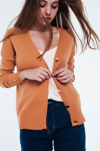 Q2 - Camel Cardigan With Button Detail