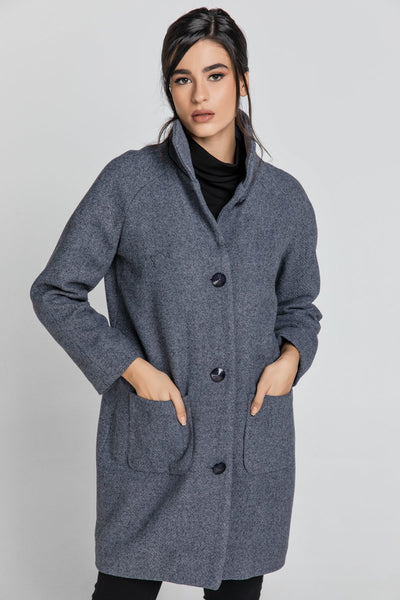 Conquista - Wool Blend Grey Mélange Coat by Conquista Fashion