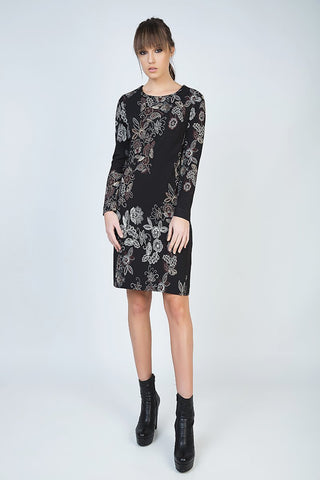 Conquista - Print Long Sleeve Straight Dress