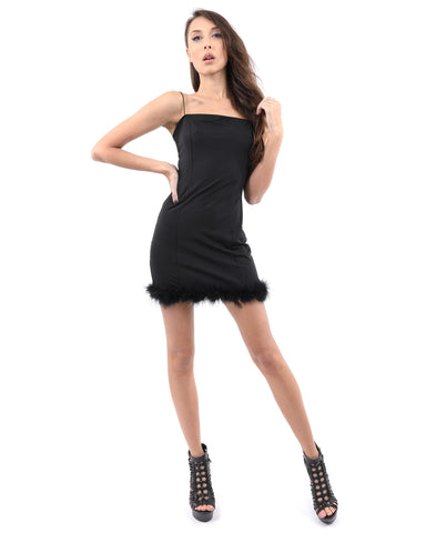 RSP Fashion - Noel Mini Dress With Fur Hem