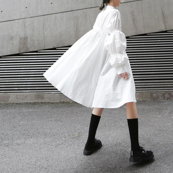 Marigold Shadows - Hotaru Long Sleeve Pleated Shirt Dress - White