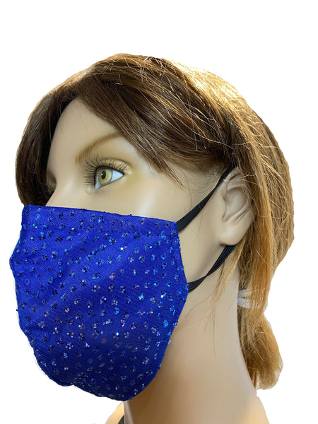 Jasmine Royal Blue - High Fashion Designer Face Mask