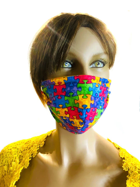 Autism Awareness Puzzle - Designer Fashion Face Mask