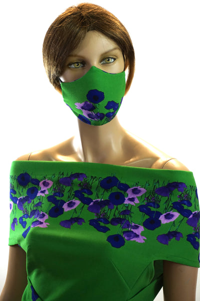 Floral Green - Designer Fashion Face Mask