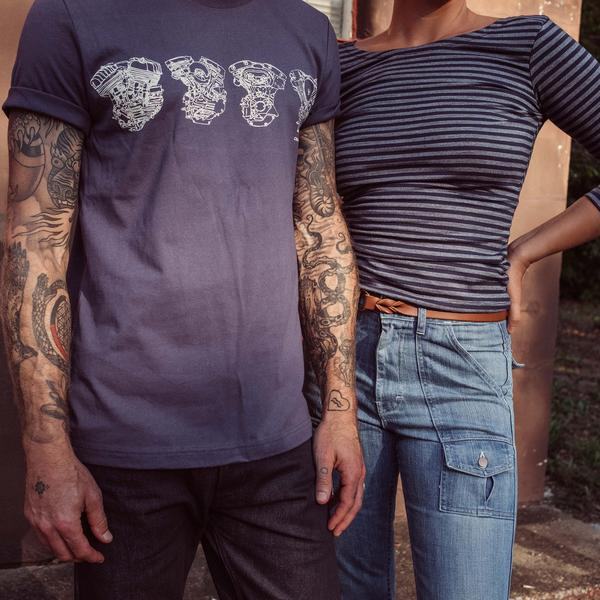 Four Engines Tee | Navy | Crawford Denim & Vintage