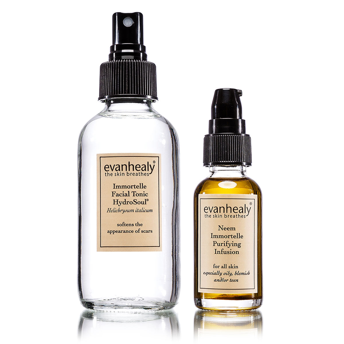 evanhealy Immortelle Facial Tonic HydroSoul and Neem Immortelle Purifying Infusion