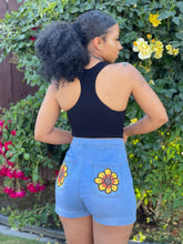 "Load image into Gallery viewer, ""Sunflower Soul"" Shorts (Light Wash)"