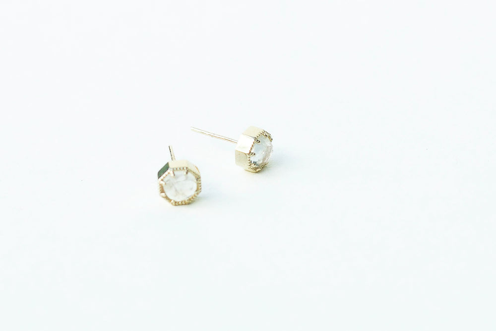 Grace Lee Crown Bezel Moonstone Earrings