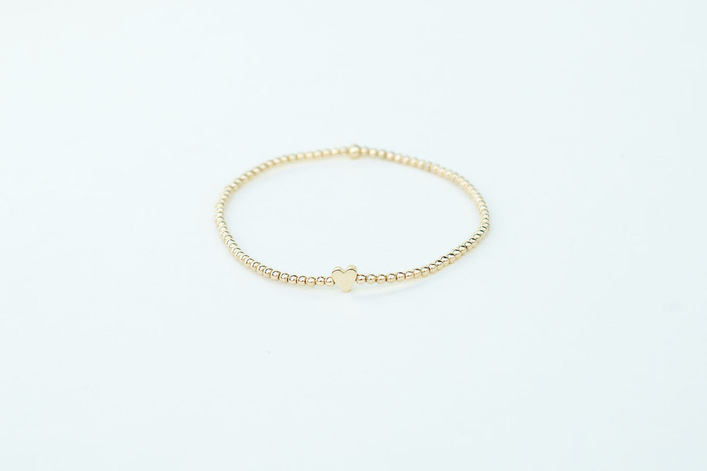 Karen Lazar 2mm Yellow Gold Bracelet with Heart Bead