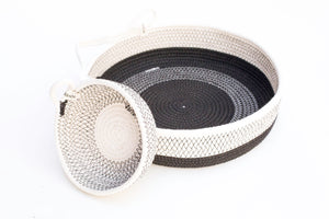 Load image into Gallery viewer, Woven Grey Large One Handled Black Basket