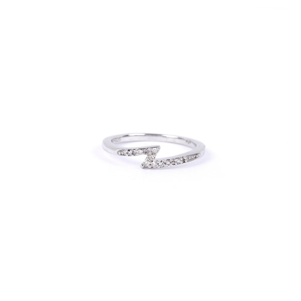 Adina Reyter Pave Lightening Bolt Band Ring - Sterling Silver