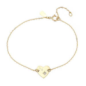 Adina Reyter Tiny Diamond Heart Stamp Bracelet