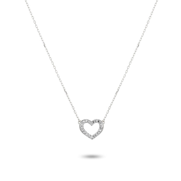 Adina Reyter Tiny Pavé Open Folded Heart Necklace
