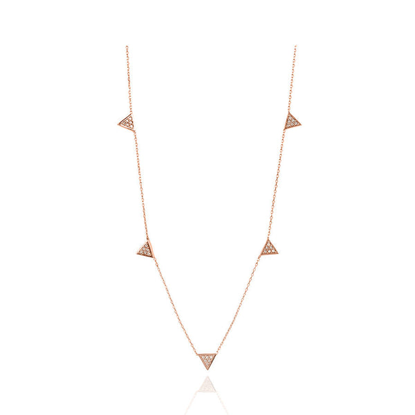 Adina Reyter Tiny Solid Pave Triangle Chain Necklace - Rose Gold