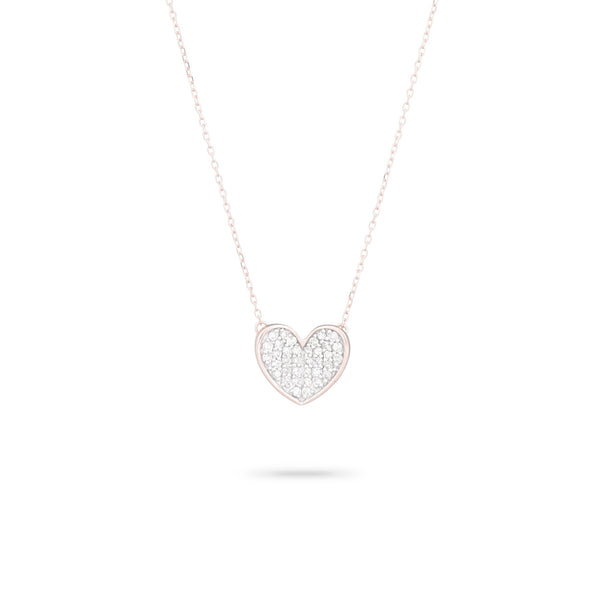 Adina Reyter Pavé Folded Heart Necklace - Rose Gold