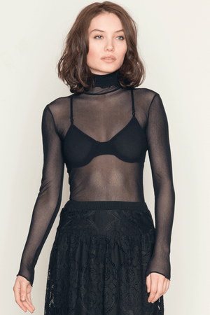 Only Hearts Tulle Turtleneck Bodysuit - Black