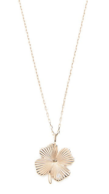 Adina Reyter Tiny Diamond Clover Rays Necklace
