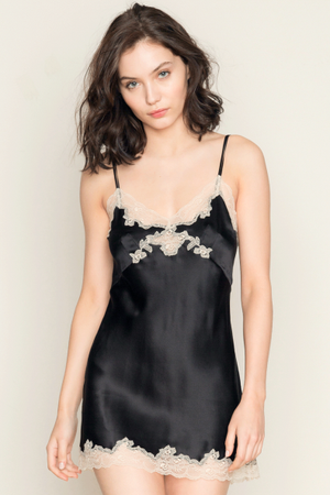 Only Hearts Silk Charmeuse Mini Slip - Black & Vintage Lace