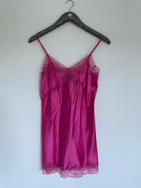 Only Hearts Silk Charmeuse Mini Slip - Hot Pink