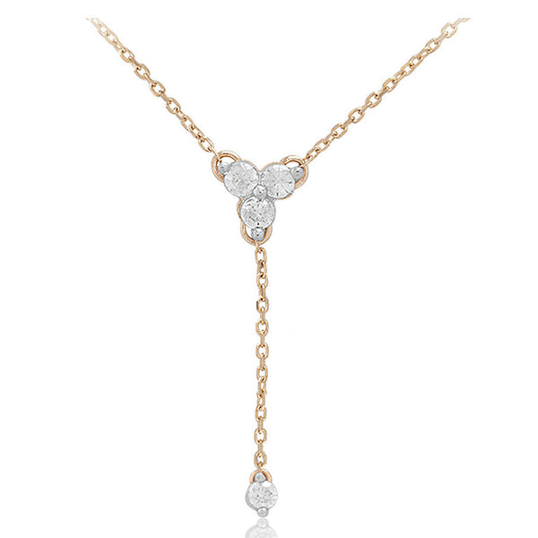 Adina Reyter Diamond Cluster Lariat Necklace - Yellow Gold