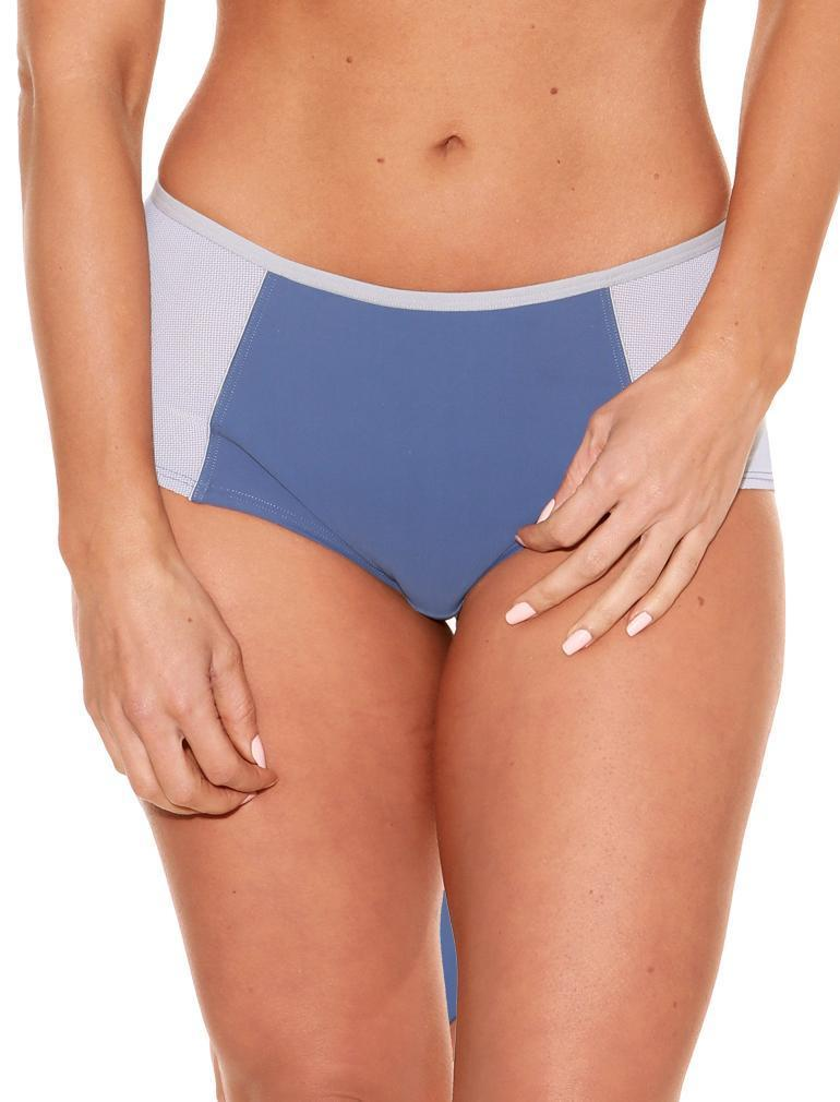 Fit Fully Yours Pauline Boyshort Panty, Blue / Silver