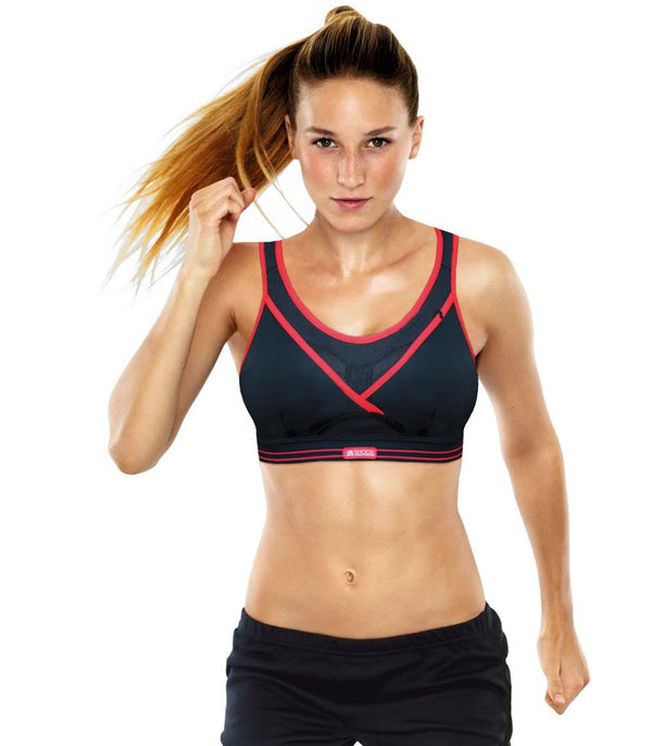 Shock Absorber Ultimate Gym Sports Bra, Black & Red