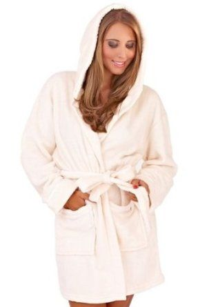 Soft Hooded Boyshort Bathrobe, Cream