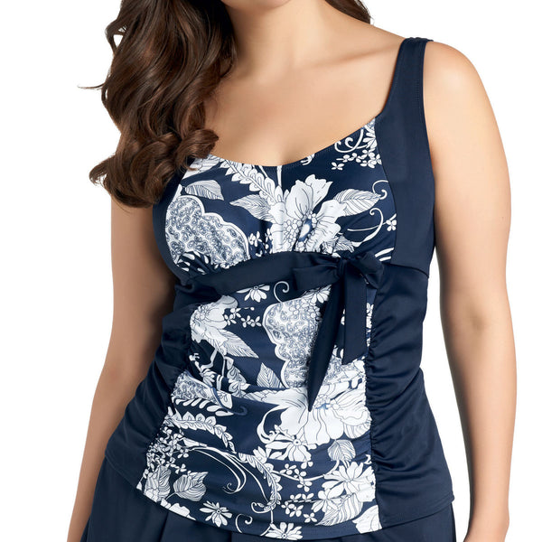 Elomi Danube Gathered Tankini, Navy