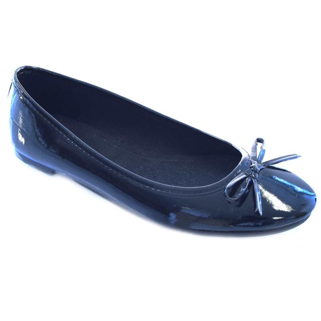 Flat Bow Ballet Pumps Black Shiny Shoes