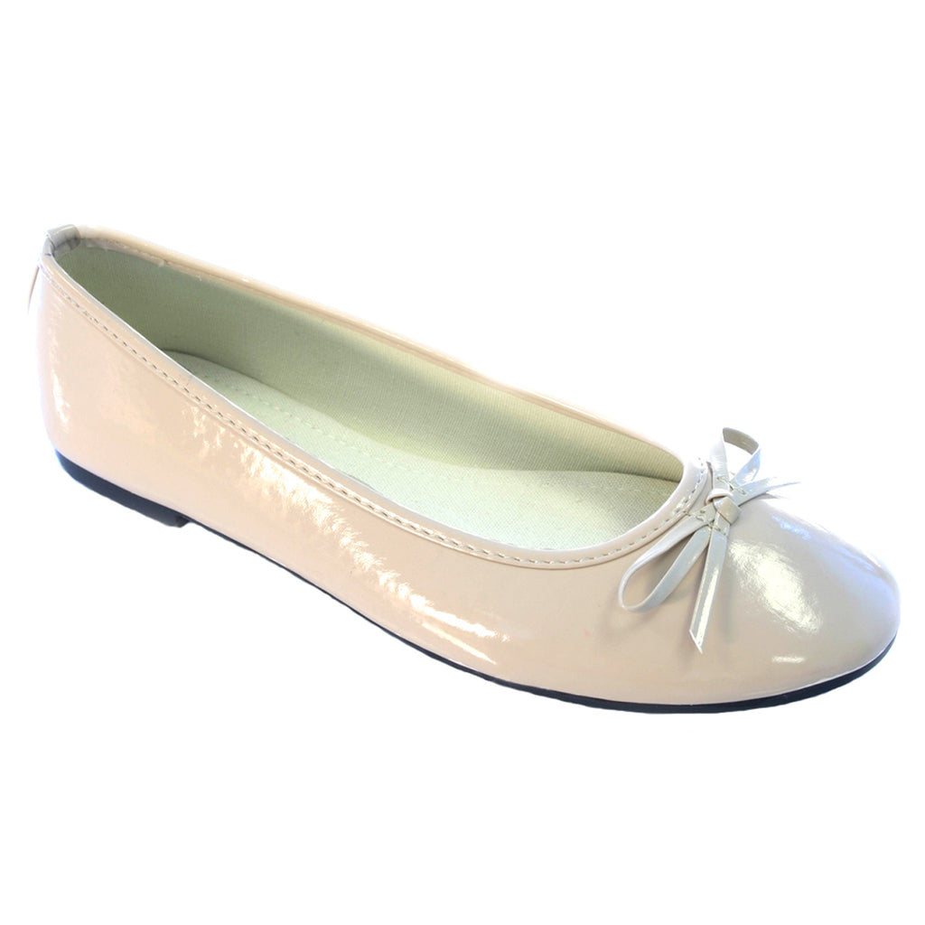Flat Bow Ballet Pumps Nude Shiny Shoes